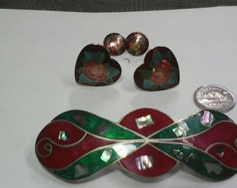 Cloisonne. Vintage earrings and hair clip