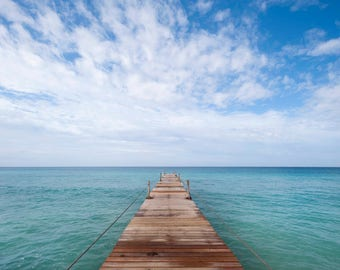 Dock photo, Dock photography, Caribbean dock, Tropical dock, Dominican Republic, Instant download