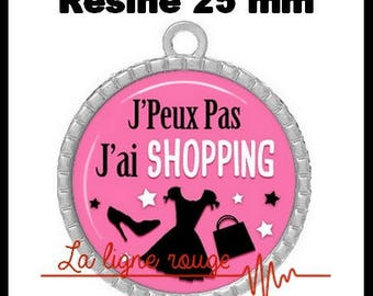 Round Cabochon pendant 25 mm epoxy resin - I can not I have shopping! (2083) - text, fun, sorry, humor
