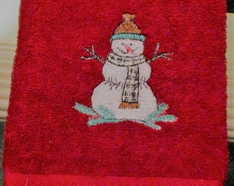 snowman hand towel embroidered