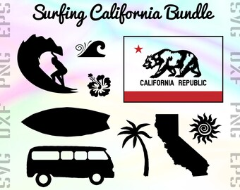 Surfing SVG Files - California Cricut Files - Surfing Clipart - Surfing Dxf Files - Surfing Cut Files - Surfing Silhouette - California Png