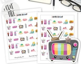 Printable TV Dinner Stickers, Functional Planner Stickers, Lazy Day Stickers, Kawaii Stickers, TV Stickers, Planner Stickers, Bujo