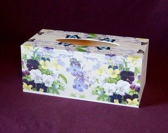 Pansies and butterflies tissue box