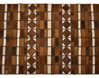 "Very Unique Ethically Sourced Square Cowhide Patchwork Area Rug, Hair-On Genuine Bovine Leather, Modern Premium Quality, 5'3"" x 8'0"""