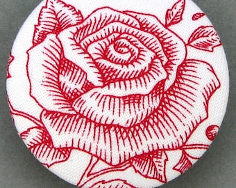 Covered button with mistletoe - the Rose - - diameter 40 mm - 40-01