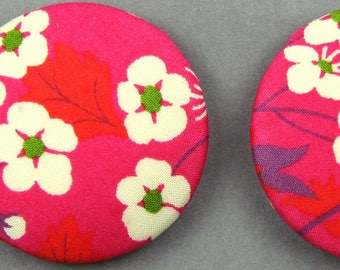 Boutons recouverts de tissu - Liberty Mitsi Indien - Diamètre 32mm -