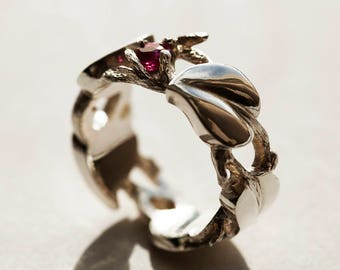 Silver ring with Rubies leaf and twig. By Samuel Carrington.