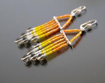 Translucent beads earrings.