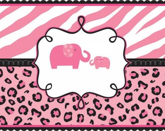 Pink Sweet Safari Baby Shower Edible Party Cake Image Topper Frosting Icing  Sheet