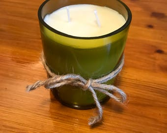 Recycled wine bottle soy  candle