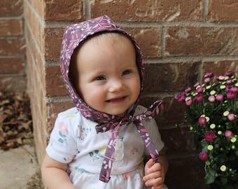 Purple Leaves Bonnet | Baby shower gift | Baby hat | Bonnet | Newborn bonnet | Modern vintage | Toddler hat | Baby bonnets | Baby photo prop