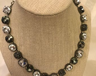 Swarovski multi- size black and crystal necklace and earrings