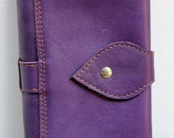 Companion in leather, large wallet, purple