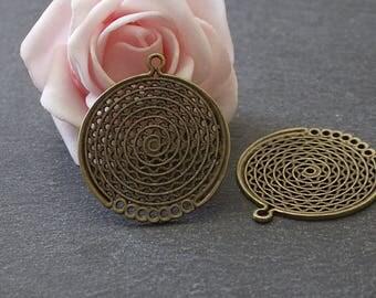 x 4 bronze circle connectors pendants openwork COB60