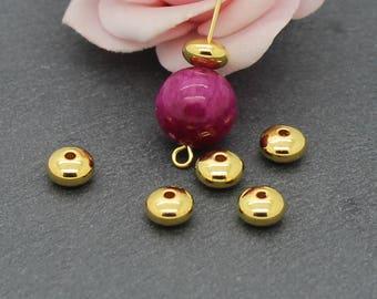 x 10 beads spacer rondelles in Golden brass 7 x 4 mm PMD16