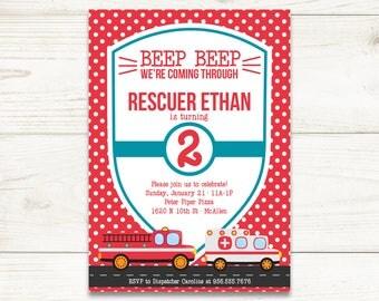 Rescuer Birthday Invitation | Emergency Vehicle Kid's Birthday Party Invitation | Fire Truck Ambulance | 5x7 Digital Invite