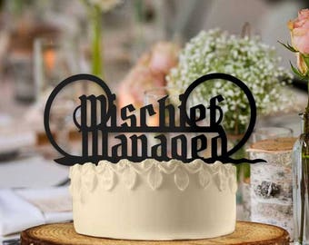 Mischief Managed with Wand Wedding Cake Topper