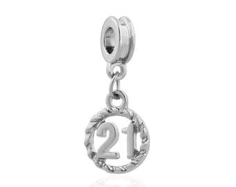Pandora charms pandora necklace compatible 21 birthday charm 21st birthday gift idea silver Dangle charm