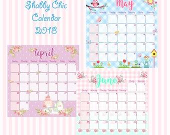 Printable 2018 Monthly Calendar - Cute Planner - Shabby Chic Calendar - Shabby Chic Planner - Floral Calendar - Cute Calendar