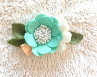 Teal Large Felt Floral Headband