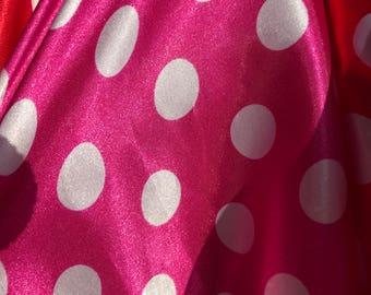 Pink & White Megan Polka Dot Print Pattern Satin Fabric - SKU 3005