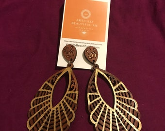Gilded wooden earrings 5inches