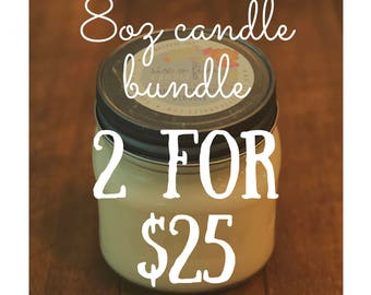 8oz Soy Candle Bundle, mason jar candle, gifts under 25, gifts for her, housewarming gift, year round candle, holiday candle, scented candle