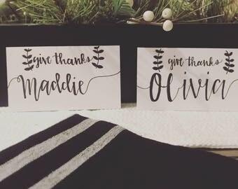 Give Thanks Custom Made Handwritten Caligraphy Name Card
