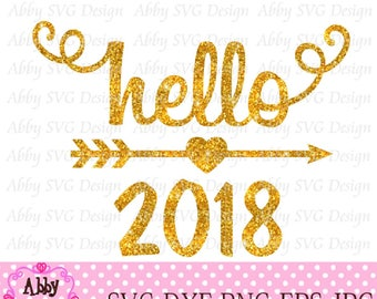 New Year Hello 2018 Cut File eps,png,dxf and svg file for the Cutting Machines