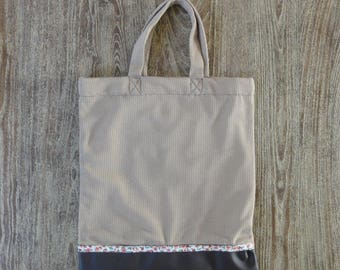 Bag/Tote Bag with mesh Beige/faux leather