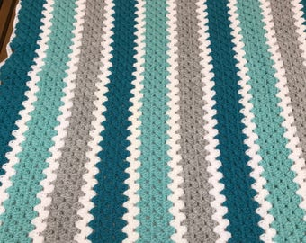 Turquoise baby blanket throw crocheted