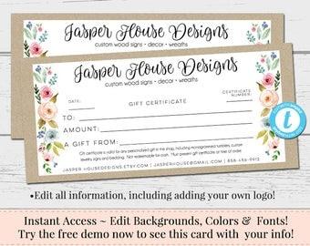 Gift Certificate, Voucher, Printable Gift Cert, Editable Gift Certificate, Instant Download, Business Templates, Shop Voucher, Editable Cert
