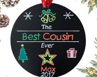 Cousin Personalized Christmas Ornament, Family Christmas Ornament, Cousin Personalized Gift, Custom Christmas Ornament