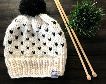 Ready to Ship, Knit Hearts Beanie, Knit Hat, Wool Beanie,  Black and White Hat,  Winter Hat, Chunky Knit Hat, Hearts Hat