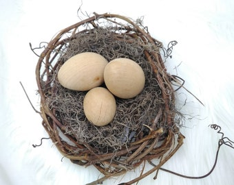 Bird nest with wooden eggs, spring decor, farmhouse decor, bird nest with moss, moss and vines, simple, elegant, cheery,