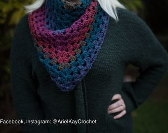 Gorgeous Multicolored Triangle Scarf - Handmade