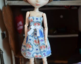 Blue lace with bow for dolls dress