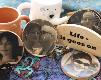 A Set of Six Personalised (Images and Phrase) Coasters with Stand