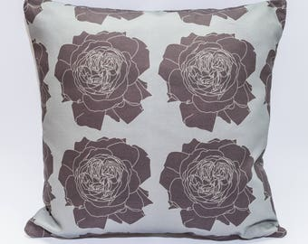 Modern Floral Cushion Cover Digitally Printed in Rose Mauve Pattern Made from 100% Cotton