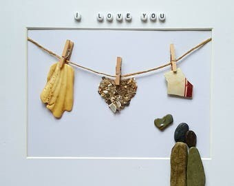 Cornish Pebble Art Picture Couple in Love Heart Washing Line Valentines Day Gift Present Handmade Unique