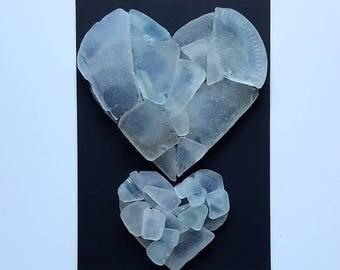 Cornish Pebble Art Picture Sea Glass Love Heart Unique Handmade Gift Present