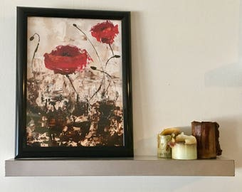 Impressionistic Red Poppies Acrylic Painting