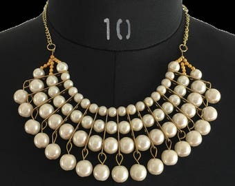 White Pearl Alloy Statement Necklace, Elegant Fashion Necklace, Christmas , Festive Look