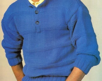 Men's Jumper, Knitted Pattern, Instant Download.