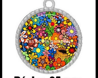 Pendant Cabochon - flowers and flowers - (67)