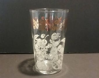 Vintage Federal Glass Co. White Fruit and Gold Trim Glasses Set of Seven