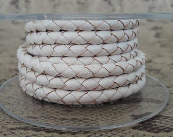 White 5 mm braided leather round cord of high quality European