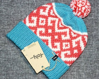 Knitted Hat ⋅Winter Hat⋅ Beanie ⋅ Knitted Hat with Pompon