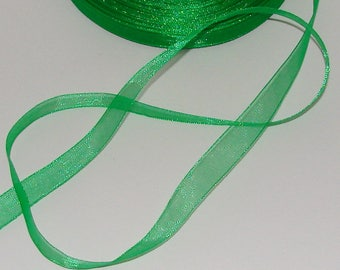 5 m organza Ribbon 10mm transparent green
