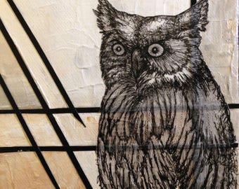Custom Soul Painting/ spirit, owl, animal, animal guide, power animal, painting, original, art, drawing, sacred, geometry
